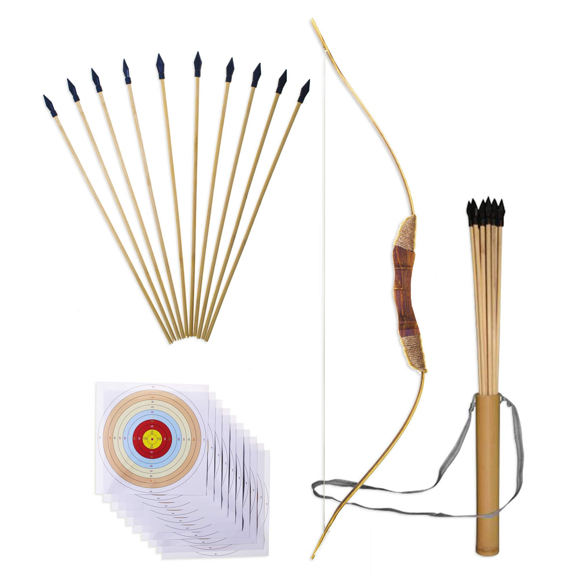 """UteCiA Complete Archery Set For Kids & Beginners – 34"""" Handcrafted Wooden Bow, 10 - Pc 18"""" Safety Rubber Tip Arrow Pack, Quiver, 10 Target Sheets – Outdoor and Indoor Shooting Toy For Aspiring Archers"""