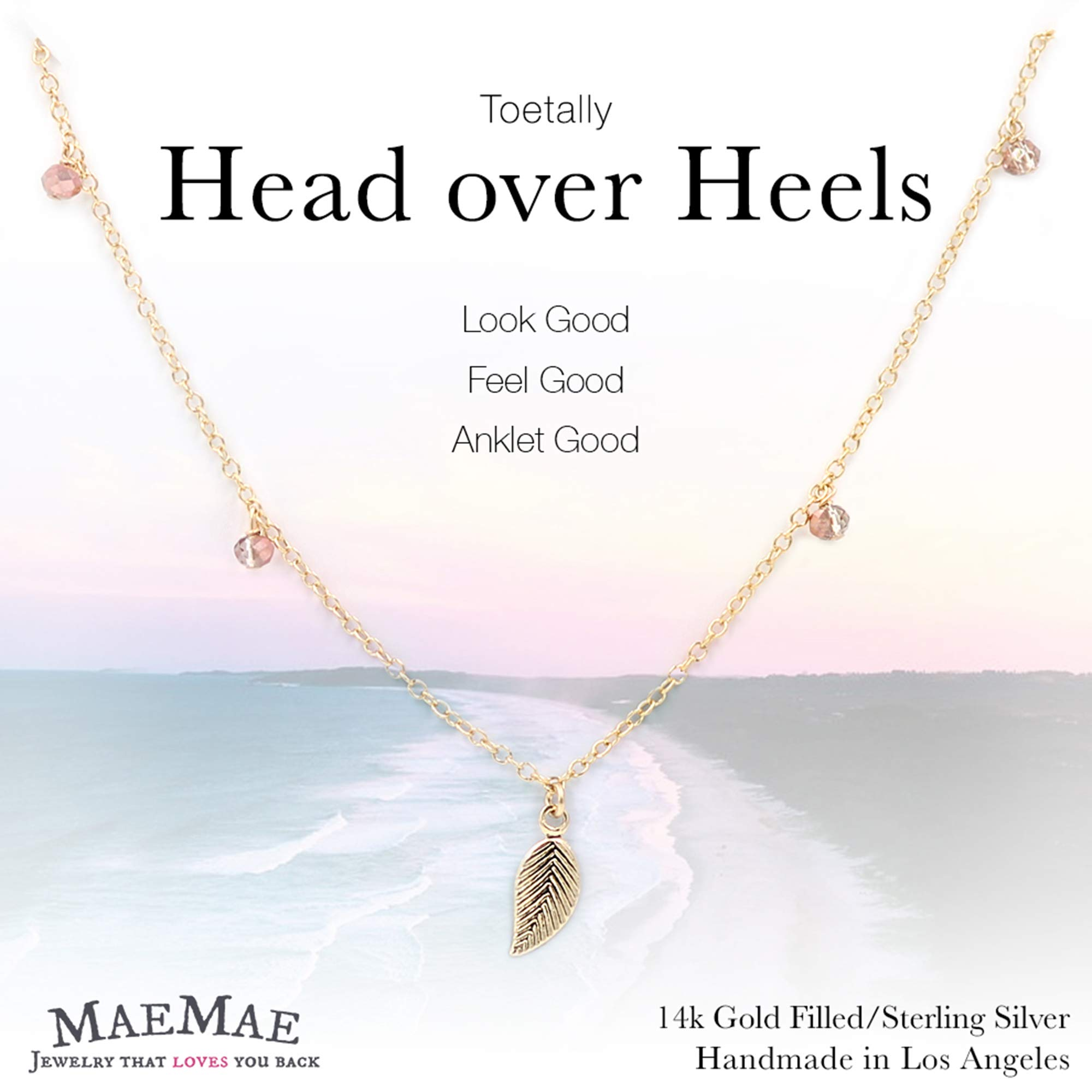 MaeMae 14k Gold Filled Leaf Charm Anklet, 3mm Light Pink Swarovski Crystals, Cable Chain, 8.5''+1'' Extender