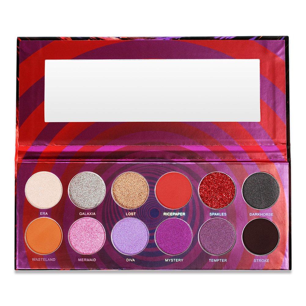 DE\'LANCI Maelstrom Eyeshadow Palette, 12 Colors Matte Shimmer Velvet Texture Blendable Long Lasting Glitter Eye Shadow Powder Makeup Kit, 0.84oz/24 g