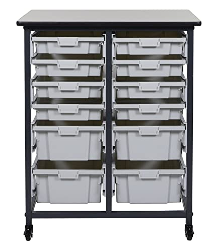 Luxor Mobile Bin Storage Unit Double Row With Small Bins