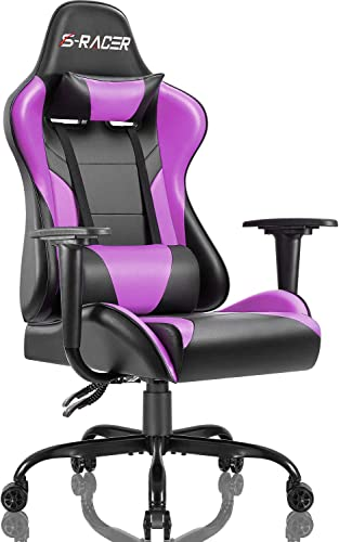 Homall Gaming Office Chair Computer Chair High Back Racing Desk Chair PU Leather Adjustable Seat Height Swivel Chair Ergonomic Executive Chair with Headrest for Adults Purple