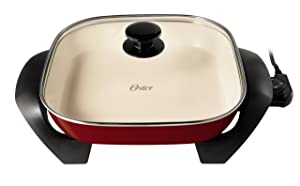 Oster Titanium Infused DuraCeramic Electric Skillet, 12 Inch, Square, Candy Apple Red (CKSTSKFM12MR-TECO)