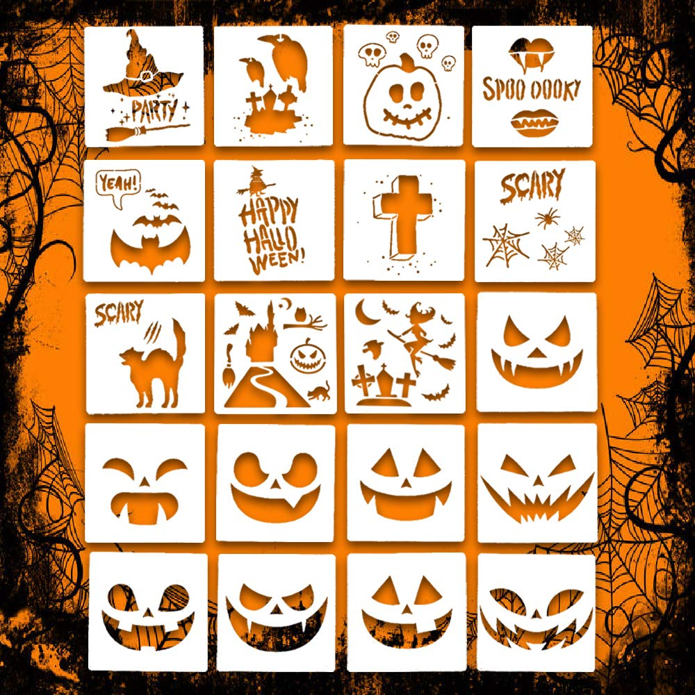 Halloween Stencil Set Template DIY Decor Stencils Craft Scrapbooking 20 PCS Leaflai Plastic Drawing Cards Use on Cookies Wall Glass Fabrics Wood Cards Posters Pumpkin Lantern Witch Haunted House by Leaflai