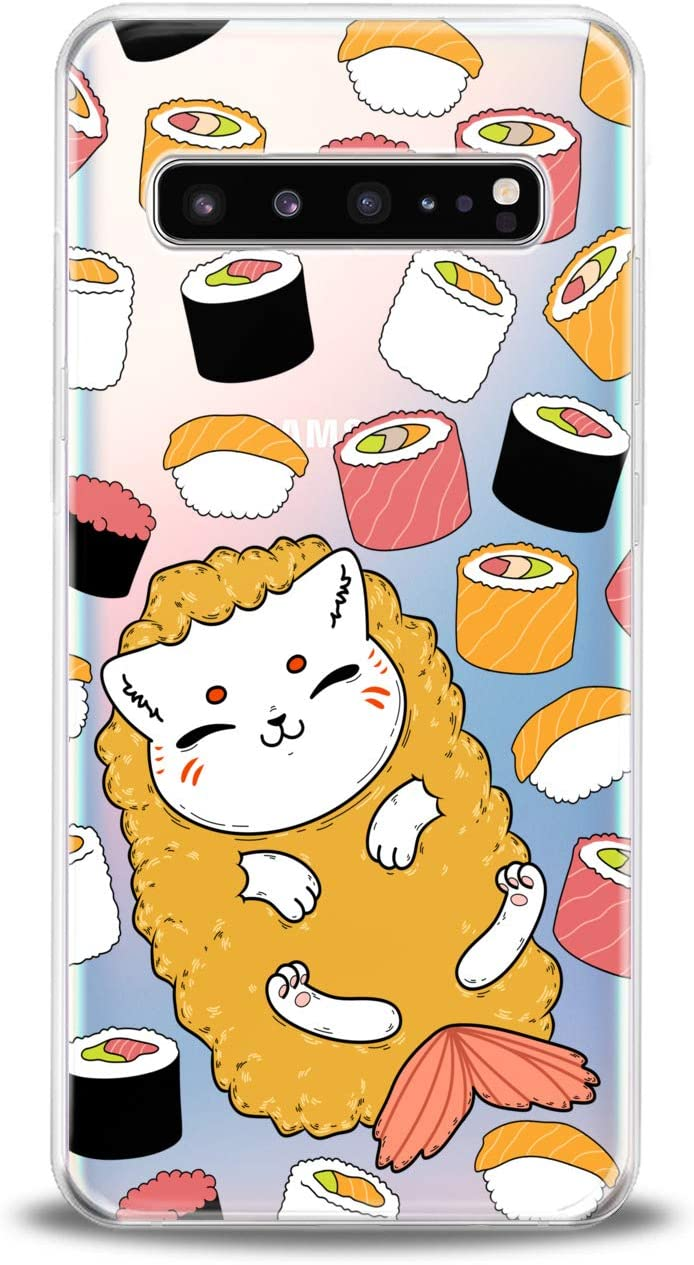 Lex Altern TPU Case Compatible for Samsung s21 Ultra s20 FE S10 Plus Note 10 s9 s8 Food Clear Kawaii Cat Design Print Kids Girls Fish Art Women Lightweight Cover Slim fit Smooth Soft Sushi Pattern