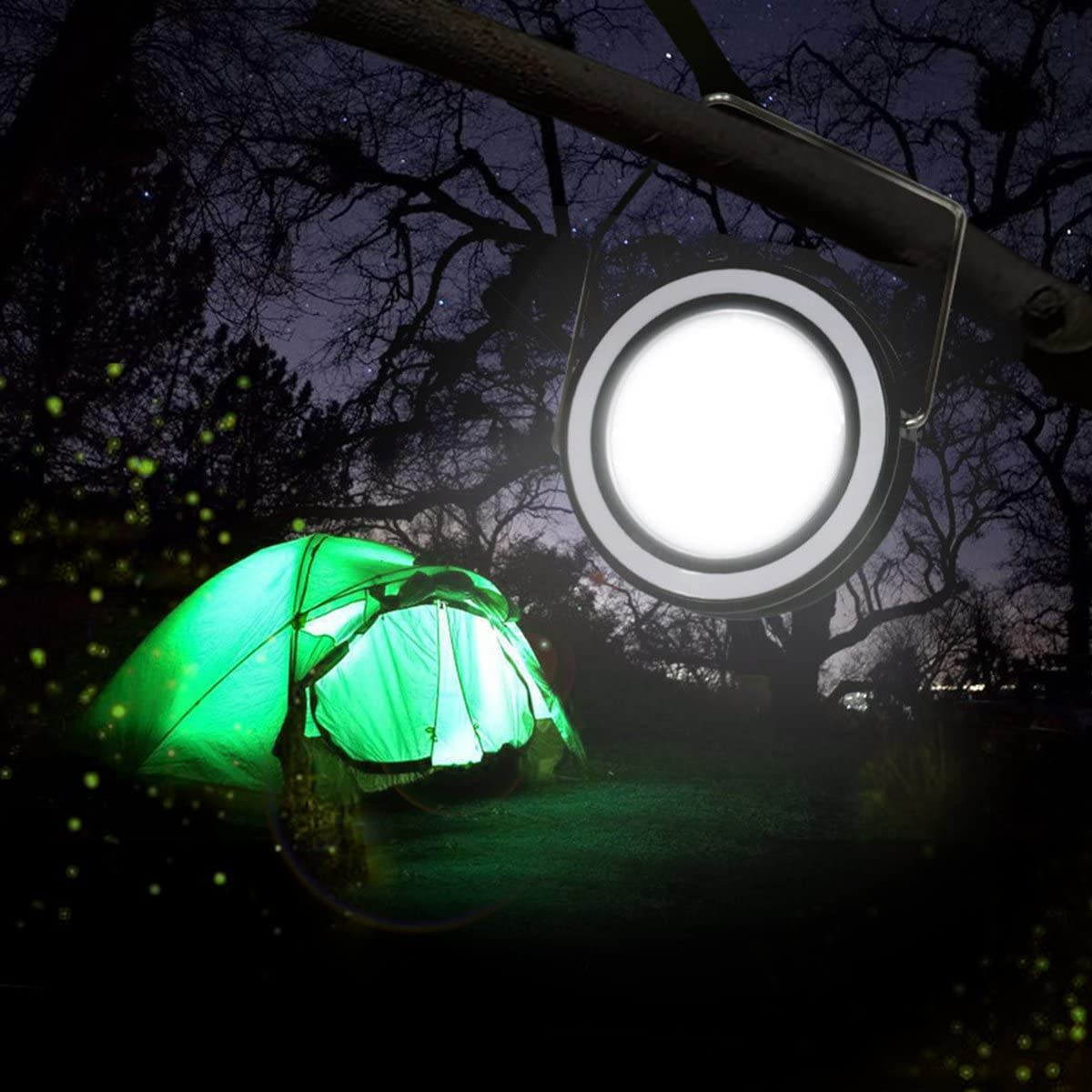 LegendTech Portable Solar Panel Lantern with USB ABS/Emergency COB LED Light Power 360 Degrees Adjustable Multi-Function High Low Light Desktop Round Lamp for Lighting Charging Outdoor Activities