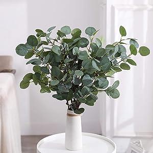 Artificial Eucalyptus Branches Silver Dollar Eucalyptus Graland Leaves Spray Greenery Decor for Home Wedding Party Bouquet (Grey Green - Pack of 4)
