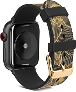 Fine Art Printing Band Compatible with Apple Watch Band 38 mm 40 mm, FITWORTH Muses Series, Soft, Light & Waterproof, Thin Line Floral Pattern Suit for Women, Girl or Lady (Golden)