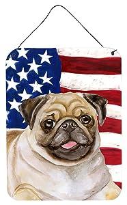 """Caroline's Treasures Fawn Pug Patriotic Metal Print, 16"""" x 12"""", Multicolor"""