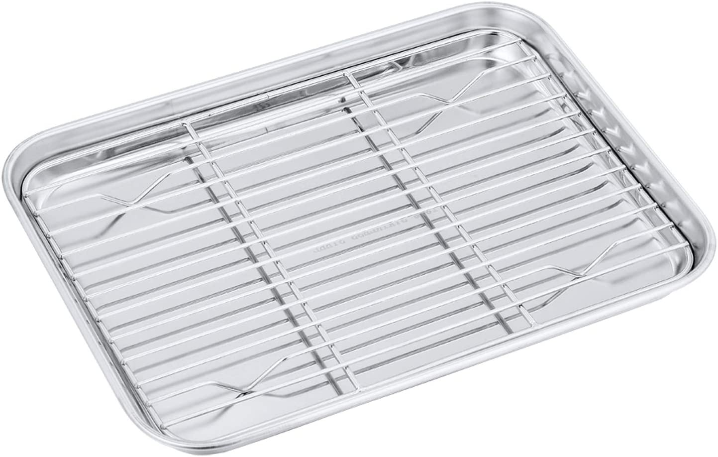 Toaster Oven Pan with Rack Set, P&P CHEF Stainless Steel Broiler Pan with Cooling Rack, Mini Rectangle 9''x 7''x1'', Non Toxic & Heavy Duty, Mirror Finish & Dishwasher Safe