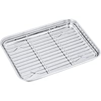 Toaster Oven Pan with Rack Set, P&P CHEF Stainless Steel Broiler Pan with Cooling Rack, Mini Rectangle 9''x 7''x1'', Non…