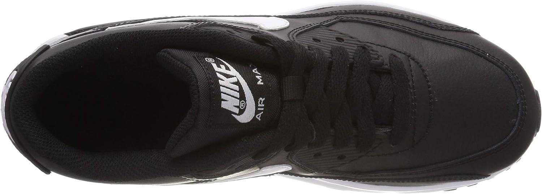 4 M US Big Kid GS Nike Air Max 90 Leather Black//White-Anthracite