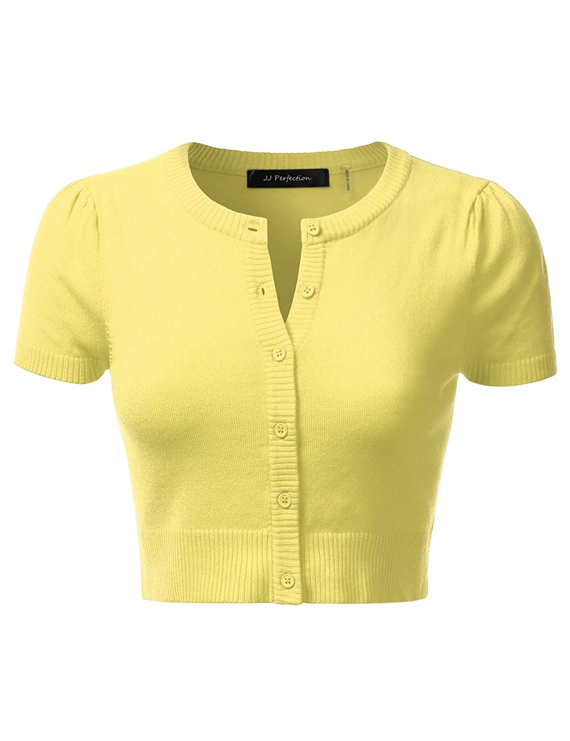 JJ Perfection Women's Solid Woven Button Down 3/4 Sleeve Cropped ...