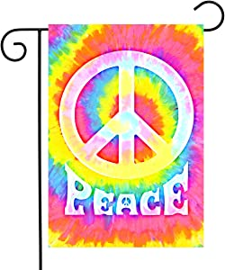 Peace Garden Flag Rainbow Hippie Peace Symbol Flag Tie Dye Colorful Banner Flag 12 x 18 Double Sided for Outdoor Yard Decor