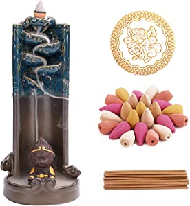 Backflow Incense Burner Waterfall, Ceramic Incense Holder with 120 Inscent Cones and 1 Mat Hand Made Aromatherapy & Home Decor for Room Office Yoga