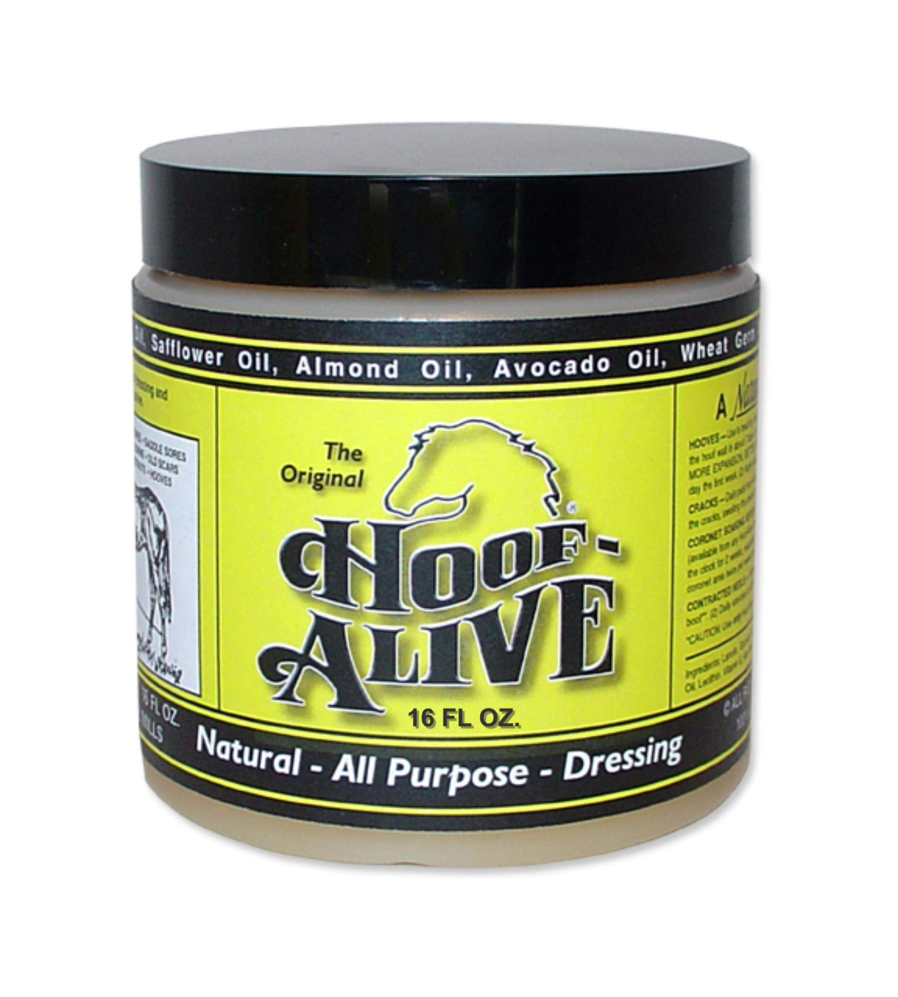 Hoof-Alive. Natural, All-Purpose Dressing Penetrates Hoof Wall and Living Tissue. Promotes Strong, Healthy Hoof Growth While Healing Water and Quarter Cracks. Non-Irritating. Petroleum-Free. (16) by Hoof-Alive