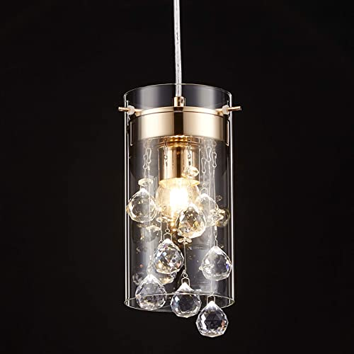Tayanuc Modern Gold Glam Crystal Pendant Hanging Light Fixture for Kitchen Island, Mini Chandelier for Bar Cafe Living Room Lounge