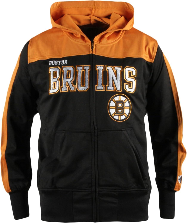 Large Black Old Time Hockey NHL Boston Bruins Youth Boreland Full-Zip Hoodie