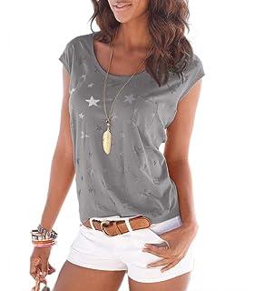 Wei/ß Junjie Plus Size Frauen Sommer Beil/äufige Lose V-Ausschnitt Kurzarm Print Bluse Tops T-Shirt Racer Under unter urban Classic weit ghnitten Blau Gelb Rosa