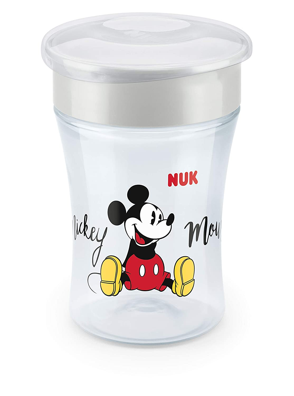 einzigartiger Trinkrand 1 St/ück grau 230ml NUK 10255488 Disney Mickey Mouse Magic Cup ab 8 Monaten abdichtende Silikonscheibe