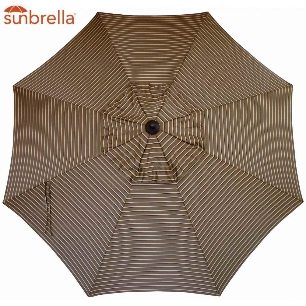 Sunbrella Replacement Canopy Umbrella Sunshade Canopy Top for 9 Ft 8-Rib Outdoor Patio Umbrella with Non Faded Sunbrella Fabric and UV Protection Sunbrella, Cocoa Stripe