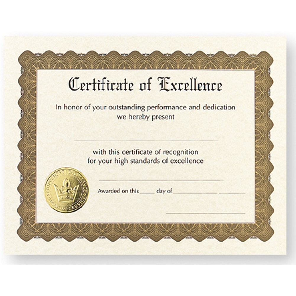 Certificate of Excellence - Pack of 12