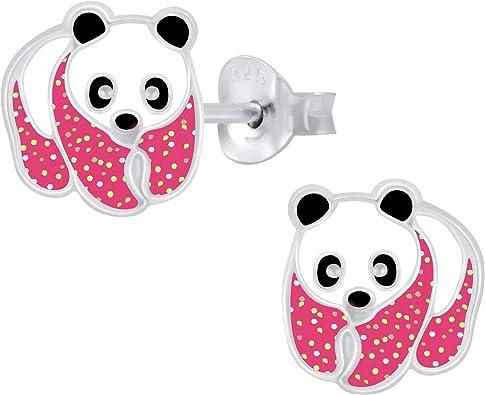 Argent sterling Boucles doreilles /à tige panda paillet/é hypoallerg/éniques pour filles Bo/îte incluse Melchior Jewellery