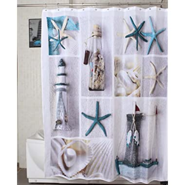 Jibin Bong Morning-sunshine 72 X 72 Inch Nautical Shower Curtains Sea World Starfish Shell Shower Curtain- - Water, Soap, and Mildew Resistant - Machine Washable Bathroom Decor Curtains