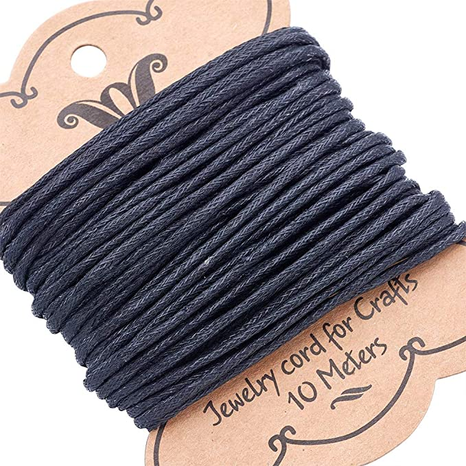 Pandahall 11Yards//10M 0.7mm Cotton Polyester Waxed Cord Macrame String Linen Thread Wire Black Jewelry Making Beading Necklace Making Leathercraft Supplies