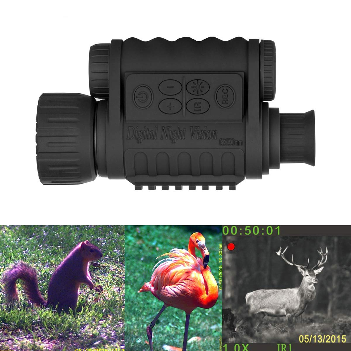 Guomu Digital Infrared Night Vision Monocular 6X 50 mm Takes 5mp Photo & 720p Video from 385 yards/1150 ft Distance in Complete Darkness for Night Hunting/Fishing (Classic Type) by Guomu