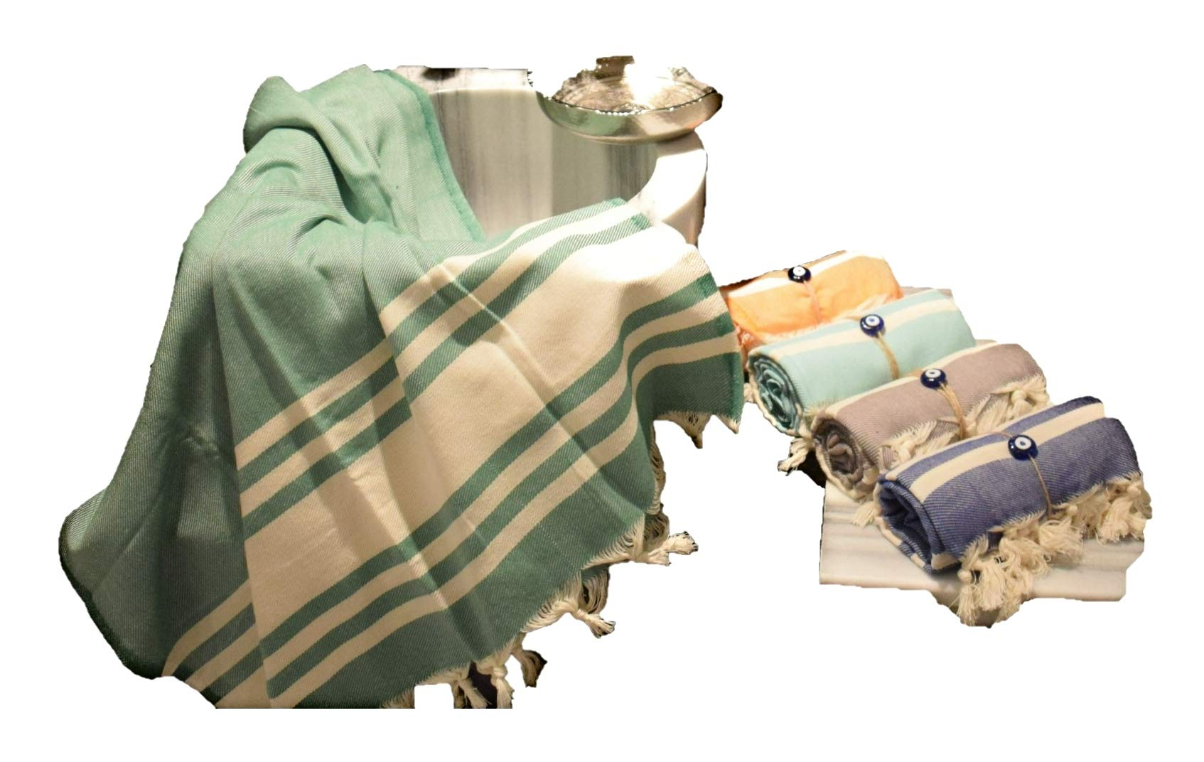 G&O Design Turkish Peshtemal Towel (Truva Peshtemal) (Green 31x66)%100 Cotton, Made in Turkey, Multipurpose Towels, Ecofriendly Absorbs Water as Fast as a Terry Towel Dries. - SOFT COTTON:'' Peshtemal Towel 31X66'' Made by %100 Premium Turkish Cotton and making the woven fabric ultra-soft on your skin and extremely absorbent. DRIES QUICKLY: These peshtemal towels dry even faster than most terry towels, and better yet, they get softer each and every time you wash them! LIGHTWEIGHT : Featuring a unique woven texture, our towels are extremely lightweight and comfortable, you can take it anywhere, it doesn't take much space. - bathroom-linens, bathroom, bath-towels - 71AmTt6qowL -