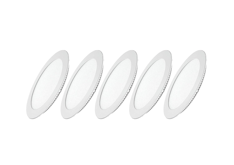 Foco empotrable luz fr/ía 6000/K con aletas a muelle 24/W 2200/l/úmenes 24 Juego 5/Panel redondo Led Dya