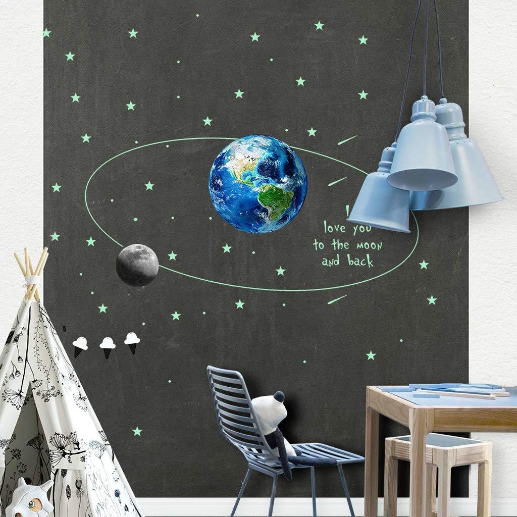 Routefuture D/écoration pour Enfants Lueur dans lobscurit/é Mur de Plafond de la St Valentin Sticker Sticker Chambre Lune