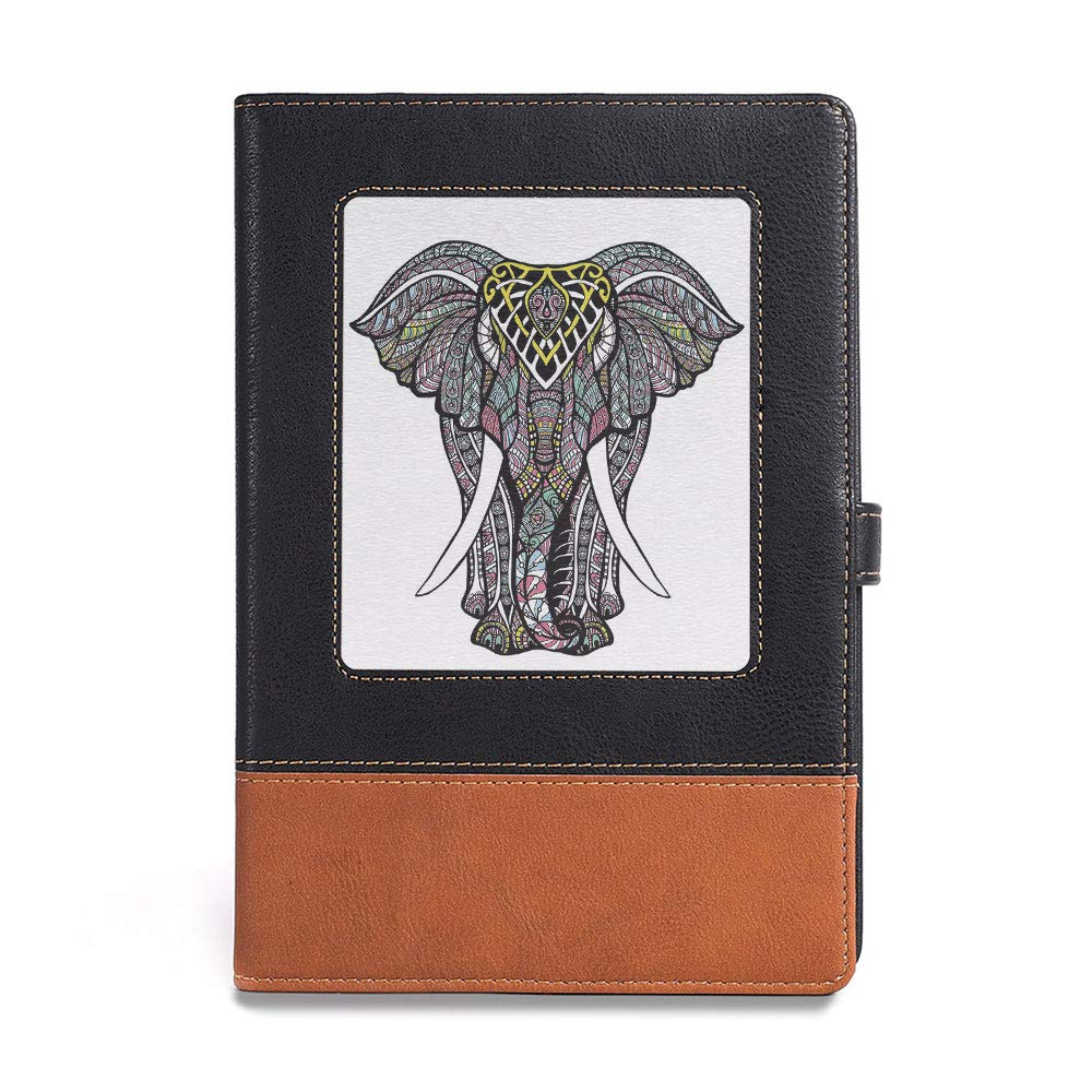 Thick Notebook,Elephant Mandala,A5 6.1 x 8.6 ,Suitable for choosing artists,Hippie Tie Dye Grunge Inspired Tribal Ethnic Native,