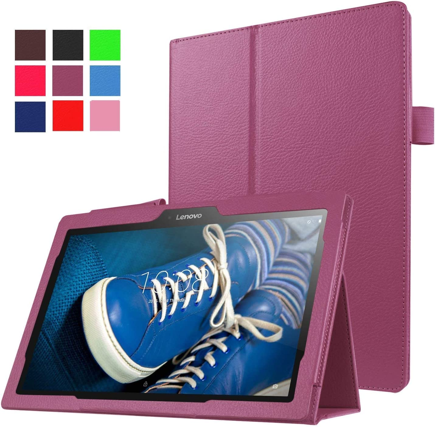 "Asng Lenovo Tab2 A10-70 Case - Slim Folding Stand Cover Smart Case for Lenovo Tab 2 A10-70, Tab 10(TB-X103F) 10.1"" Tablet (Purple)"