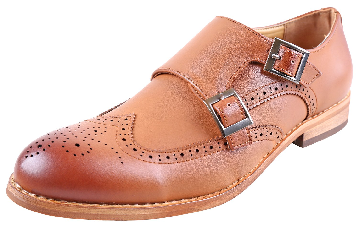 Urban Fox Allen Men's Dress Shoe | Double Monk Strap | Brogue | Wingtip Shoes for Men | Light Brown 12
