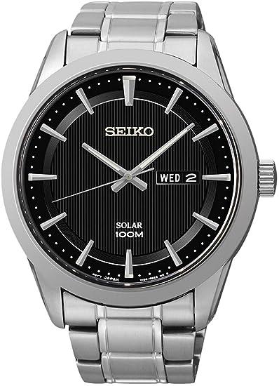 Seiko Reloj Analógico para Hombre de Energía Solar con Correa en Acero Inoxidable SNE363P1: Amazon.es: Relojes
