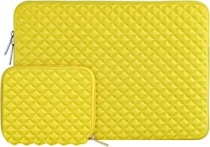 MOSISO Laptop Sleeve Compatible with 13-13.3 inch MacBook Pro, MacBook Air, Notebook Computer, Diamond Foam Neoprene Bag Cover with Small Case, Yellow