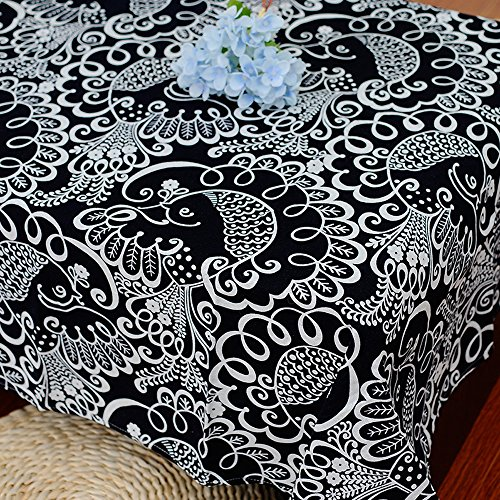 Bringsine Square Cotton Linen Classic Phoenix Washable Tablecloth Vintage Rectangle Dinner Picnic Table Cloth Home Decoration Assorted Size 36 x 36-Inch