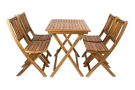 SAM Conjunto para jardín, Mueble de Madera de Acacia, 5 Piezas, 1 Mesa + 4 sillas Plegables, Madera Maciza certificada FSC® 100%