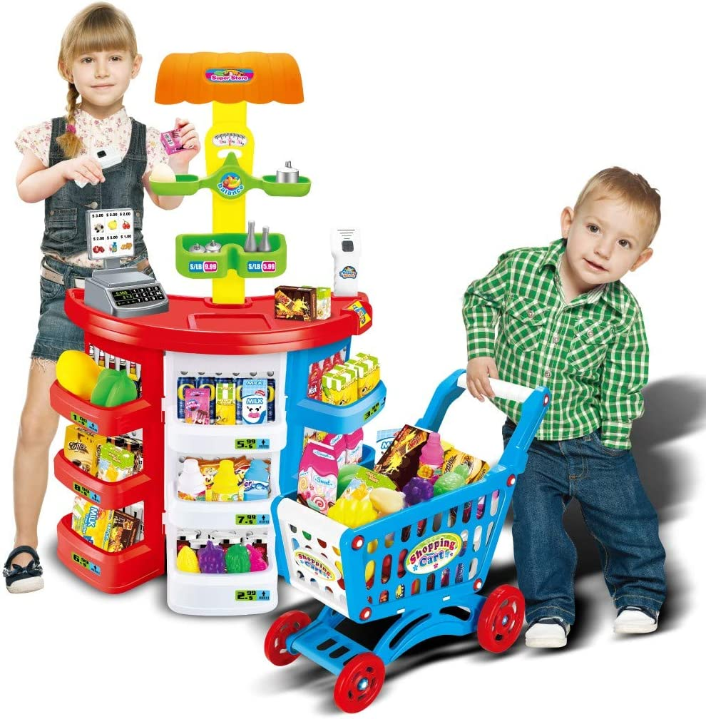 Sanycool Kids Supermarket Set with Cashier ,Shopping Cart and Scanner,Children Grocery Store Playset with Lights and Sounds , Pretend Play Cash Register for Kids