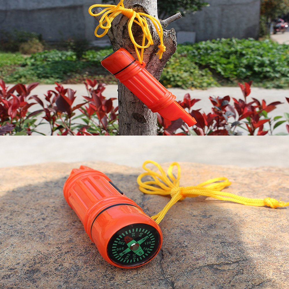 5 in 1 Emergency Camping Survival Whistle Orange
