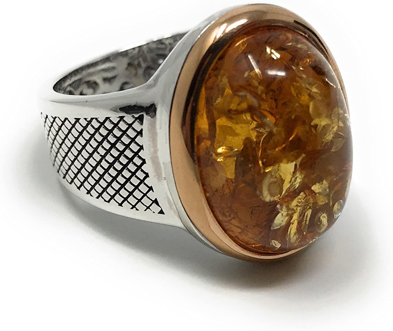 KAR Elegant & Unique 925K Sterling Silver Honey Amber Men's Ring K32O