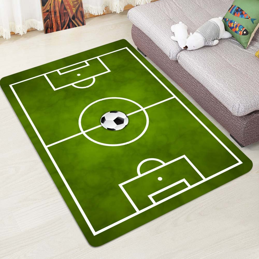 Alapaste Soccer Field Ground Mat Green,Non-Slip Play Area Rug Pad for Children Teen, Room Carpet Door Mat for Living room Playroom Nursery Decoration