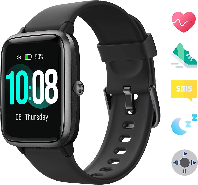 Smartwatch, Reloj Inteligente Impermeable IP68 con Monitor de Sueño Pulsómetro Podómetro Caloría GPS para Deporte, Smartwatch Reloj Inteligente Mujer Niños Despertador para Android iPhone