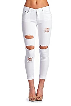 Women's High Waisted Butt Lift Stretch Ripped Skinny Jeans Distressed Denim Pants