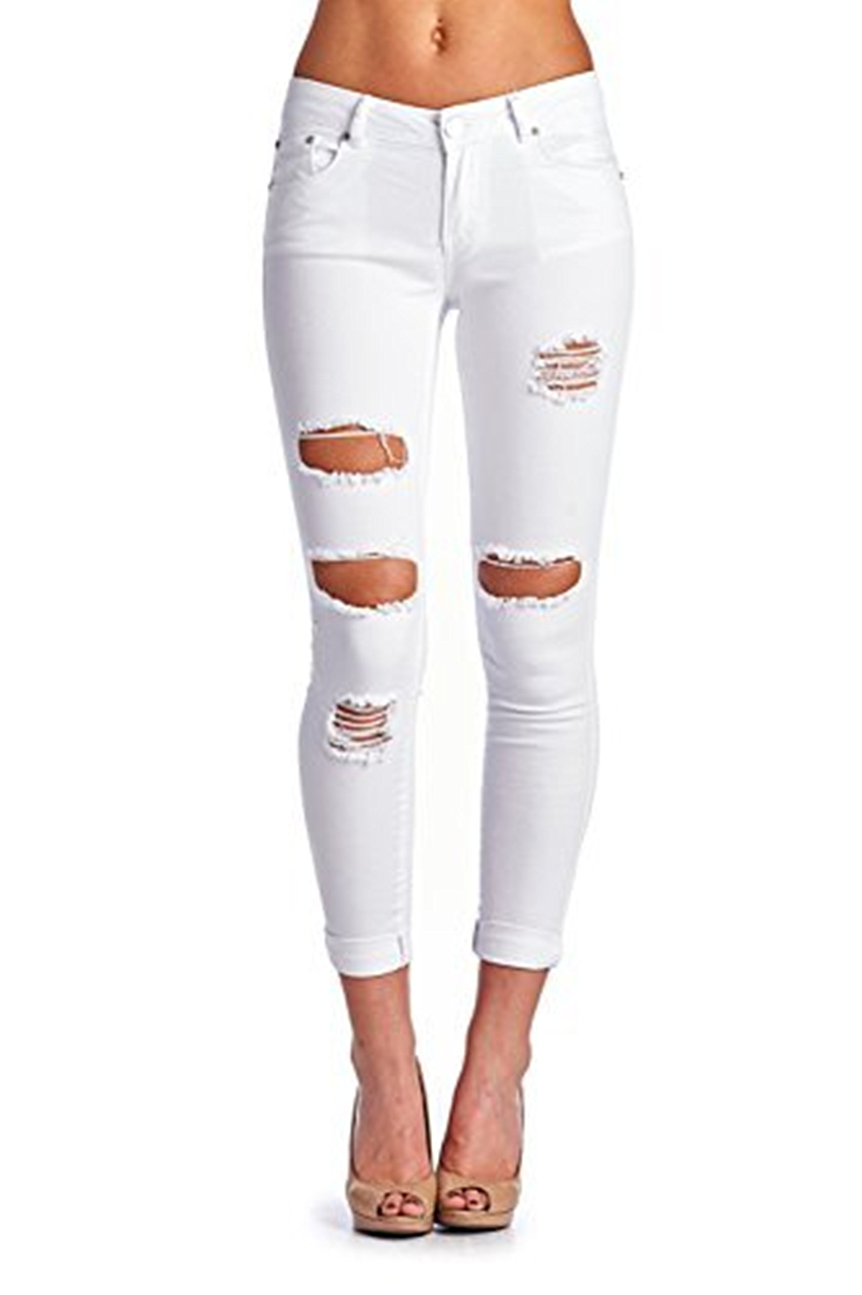 Women's Casual Ripped Holes Skinny Jeans Jeggings Straight Fit Denim Pants (US 12, White 15)