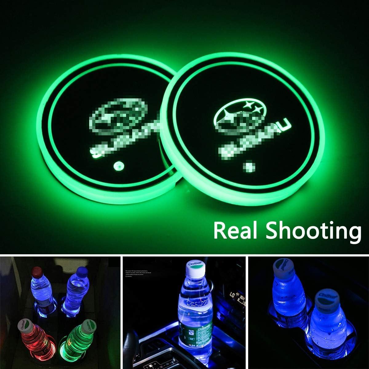 2 x LED-Auto-Logo-Becherhalter-Lichter leuchtendes Becher-Pad Lampe f/ür alle Auto-Logos LED-Innenatmosph/äre 7 Farben wechselnde USB-Ladematte f/ür B.M.W-M