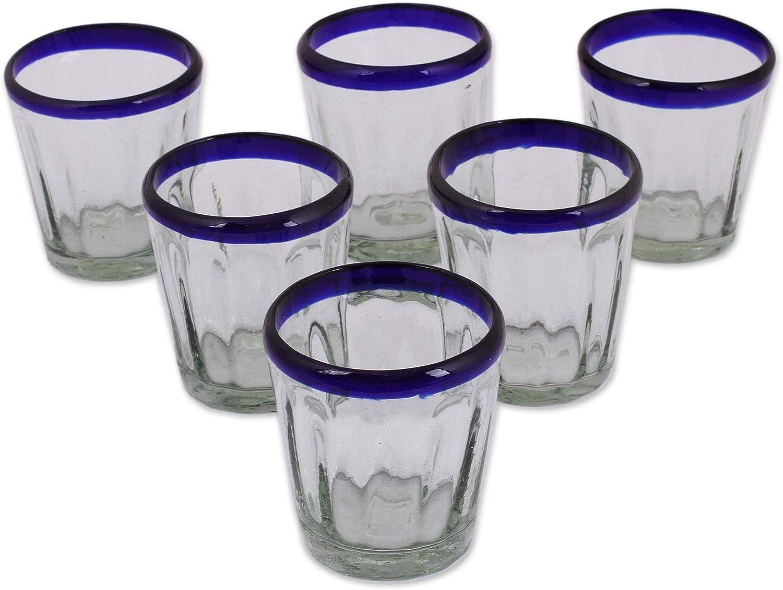 NOVICA Hand Blown Blue Rim Recycled Glass Juice Glasses, 10 oz 'Short Cobalt Groove' (set of 6)