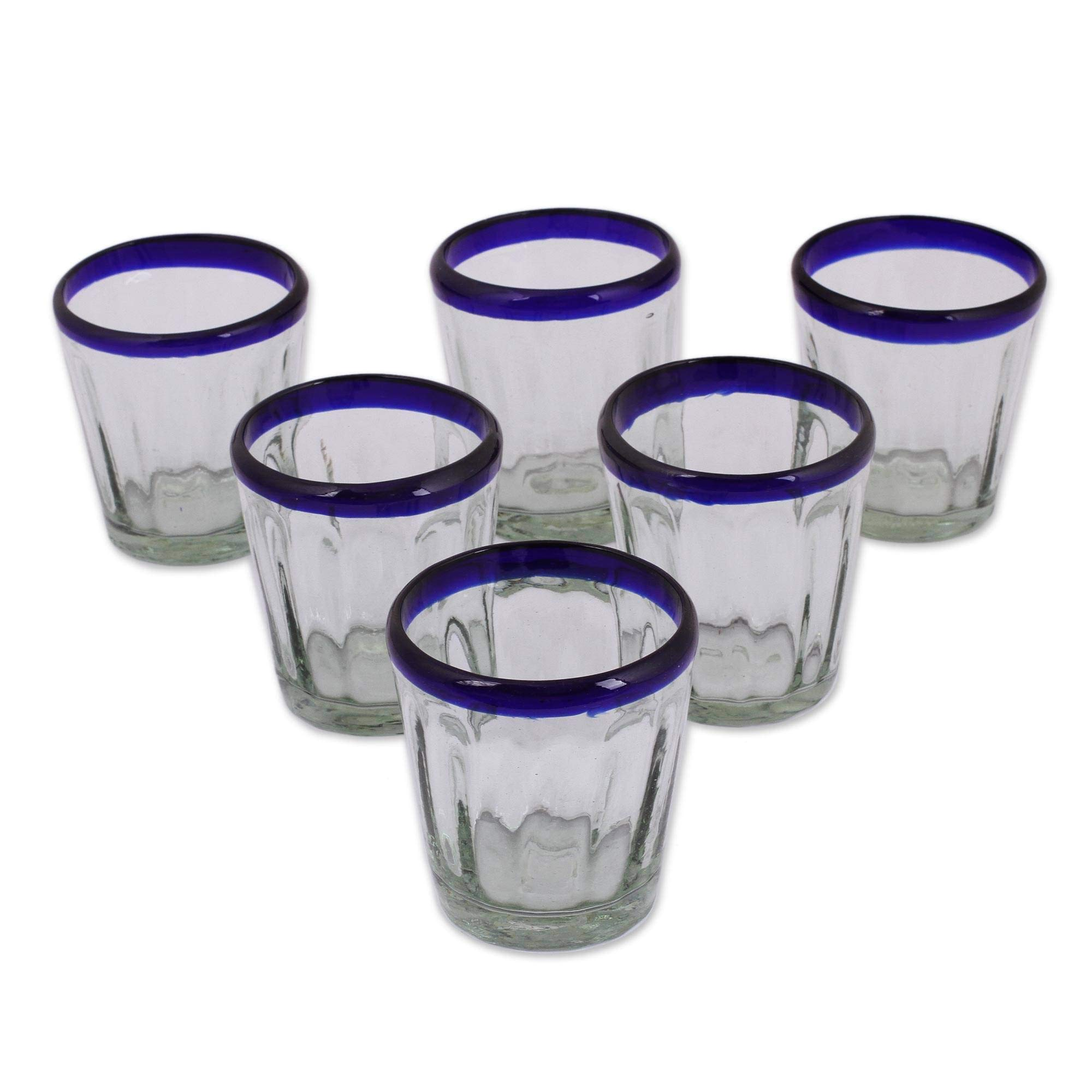 NOVICA Hand Blown Blue Rim Recycled Glass Juice Glasses, 10 oz 'Short Cobalt Groove' (set of 6)