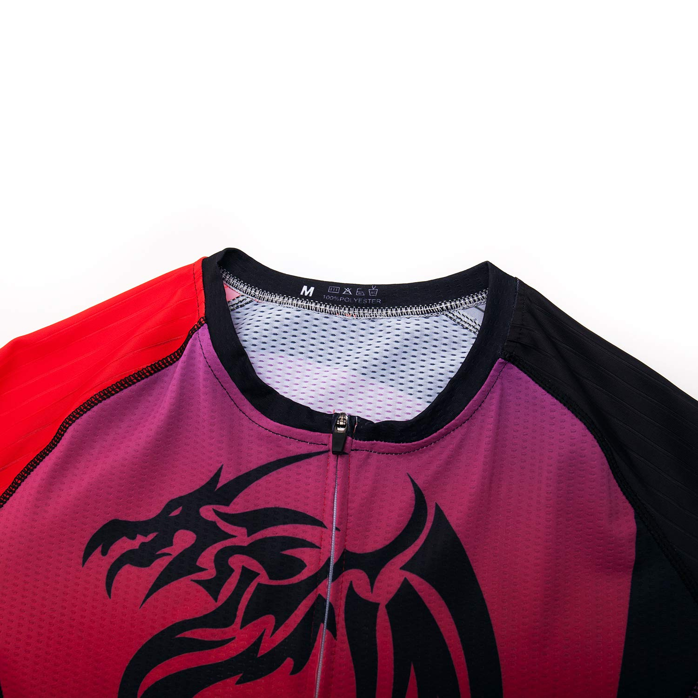 Volegarb Mens Cycling Jerseys Tops Biking Shirts Short Sleeve Bike Clothing Full Zipper Bicycle Jacket with Pockets
